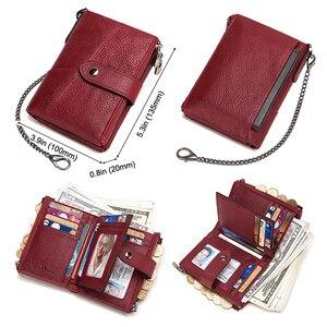 Image 4 - KAVIS hakiki deri ücretsiz gravür cüzdan kadınlar çılgın at cüzdan bozuk para cüzdanı kısa kadın para çanta Rfid cüzdan bayan Perse