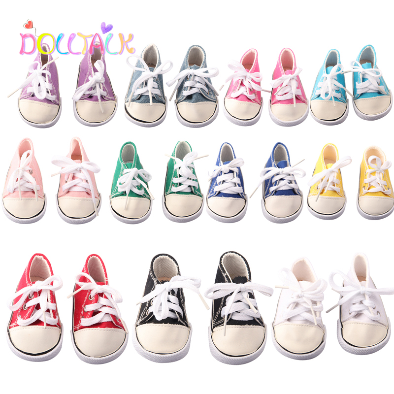 Fashion New Baby Born  Doll Denim Canvas Socks For 43 cm 18'' Girl Dolls Pink White 11 Colors 7 Cm Shoes Lace-Up Sneakers