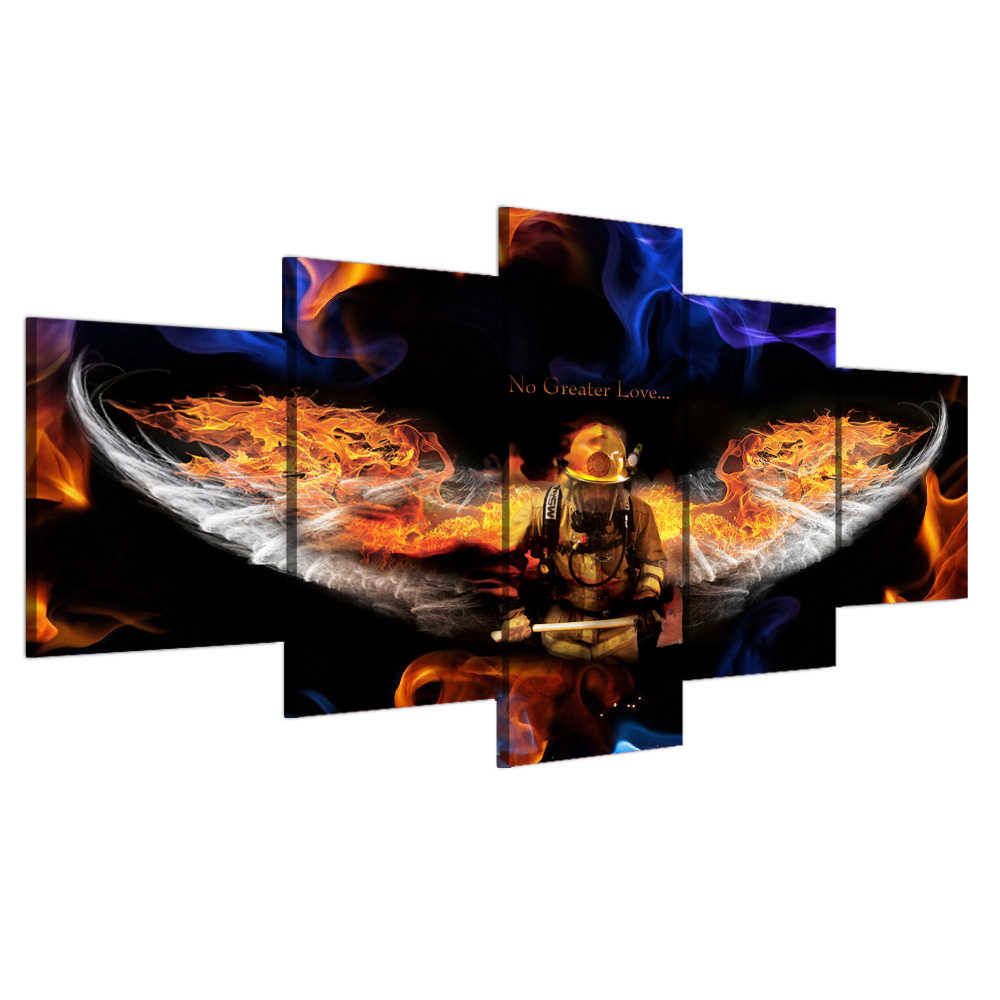 Modular Pictures 5 Panels Firefighter Painting on Canvas No Greater Love Posters and Prints Wall Art Home Decor for Living Room