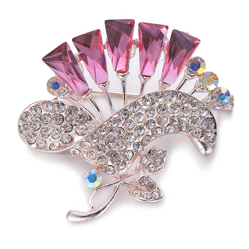 Iyoe Baru Besar Vintage Bros Pin Fashion Perhiasan Water DROP Merah Kristal Bros untuk Wanita Exquisited Hadiah