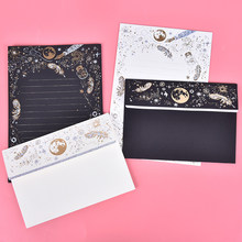 Vintage Paper Letter High-end Bronzing Starry Moon Blessing Letter with Envelope(China)