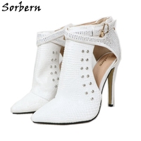 Sorbern White Snakeskin Ankle Boots Women High Heels Pointy Toes Stilettos Women Boots Short Fashion Brand Woman Boots 2019 New