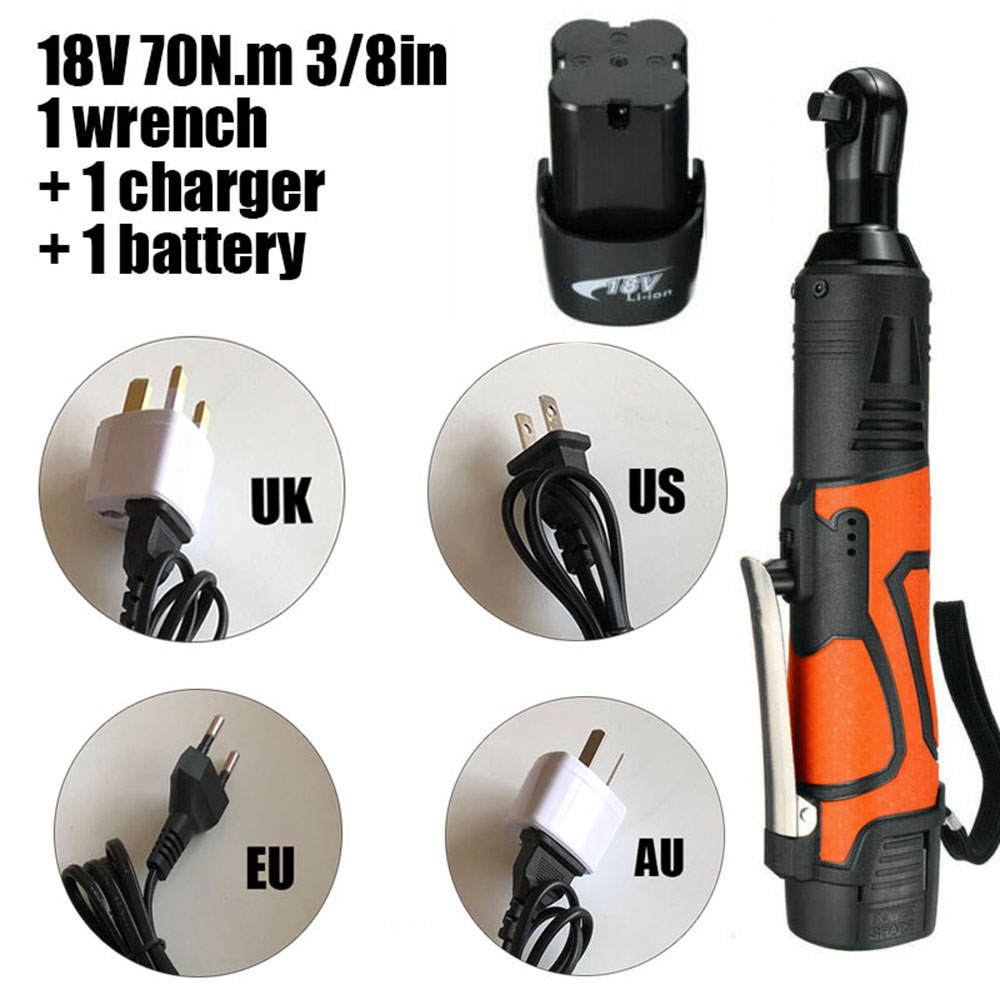 18V 70N.m 3/8in Cordless Electric Ratchet Impact Wrench Tool With Battery & Charger Kit 230RPM UK/US/EU/AU Wrench Power Tools