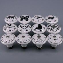 1x perillas de cerámica pintadas a mano Retro perillas y tiradores de la vendimia para gabinetes cajón tocador manijas y tiradores blancos