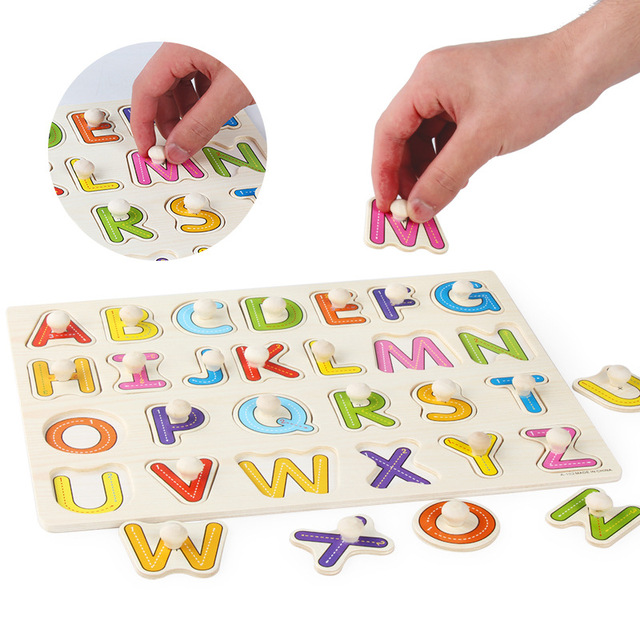 Baby Montessori Wood Jigsaw Puzzle 3d Alphabet Animals Kids Educational Toys Hand Grasp Wooden Puzzles for Children Toy Games 5