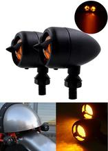 2 PCS Universal black Motorcycle Turn Signals Lights Shell Retro Lamp / Light Fits For Harleys/Choppers/Classic