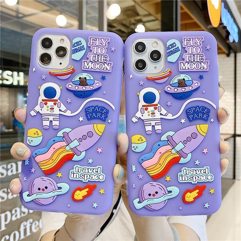Cute 3D Cartoon Space Astronaut Phone Case For Iphone 11 12 Pro MAX Mini X XR XS 7 8 Plus SE2