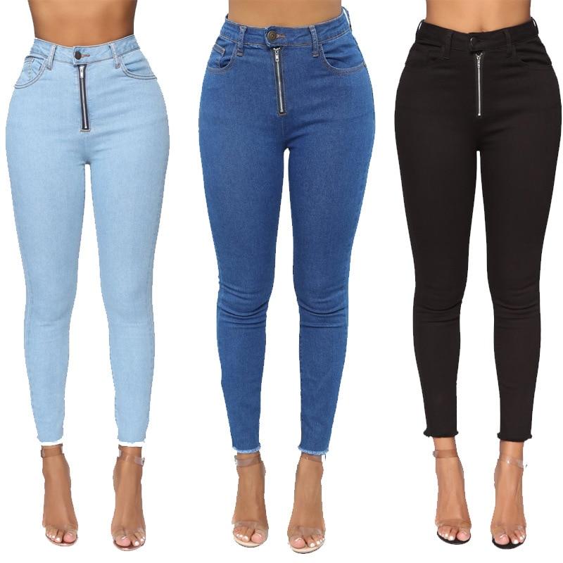Skinny Jeans For Woman High Waist Denim Wash Plus Push Up Zipper Ankle Length Trousers Bodycon Pencil Pants Plus Size