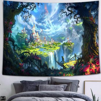 Simsant Mushroom Forest Castle Tapestry Fairytale Trippy Colorful Butterfly Wall Hanging Tapestry for Home Dorm Fantasy Decor 41
