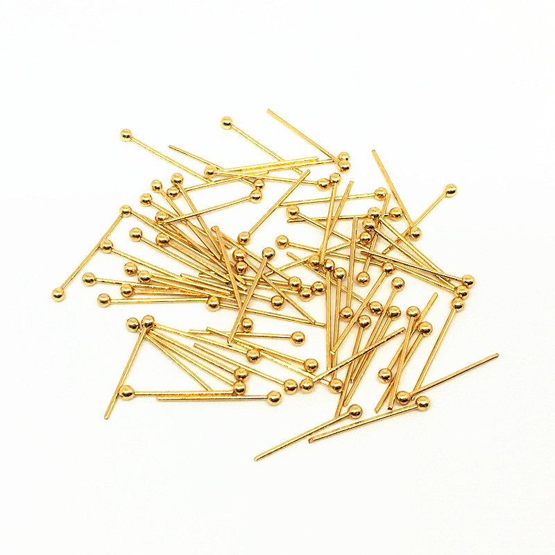 50pcs/lot wholesale lots bulk Stainless Steel Gold Ball Pins Length 20mm/30mm/35mm/40mm Diy Jewelry Making Head Pins Findings