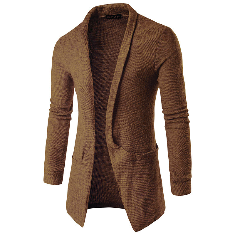 Foreign Trade Men'S Wear 2019 Spring New Style Men Korean-style Casual Fold-down Collar Large Pocket Mid-length Sweater Cardigan