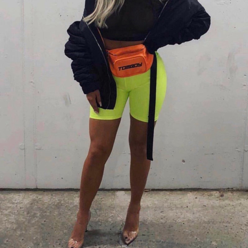 Neon green yellow biker shorts orange black high waisted shorts casual elastic shorts vintage khaki pink reflective short mujer 29