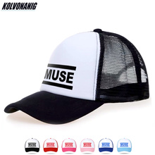2019 Summer New Rock Music MUSE Letter Print Baseball Cap  for Women Men Unisex Mesh Net Caps Adjustable Trucker Hats Visor Hat judas priest heavy metal band mesh cap summer fashion men women rock baseball caps rock music fans trucker hat letter casual hat