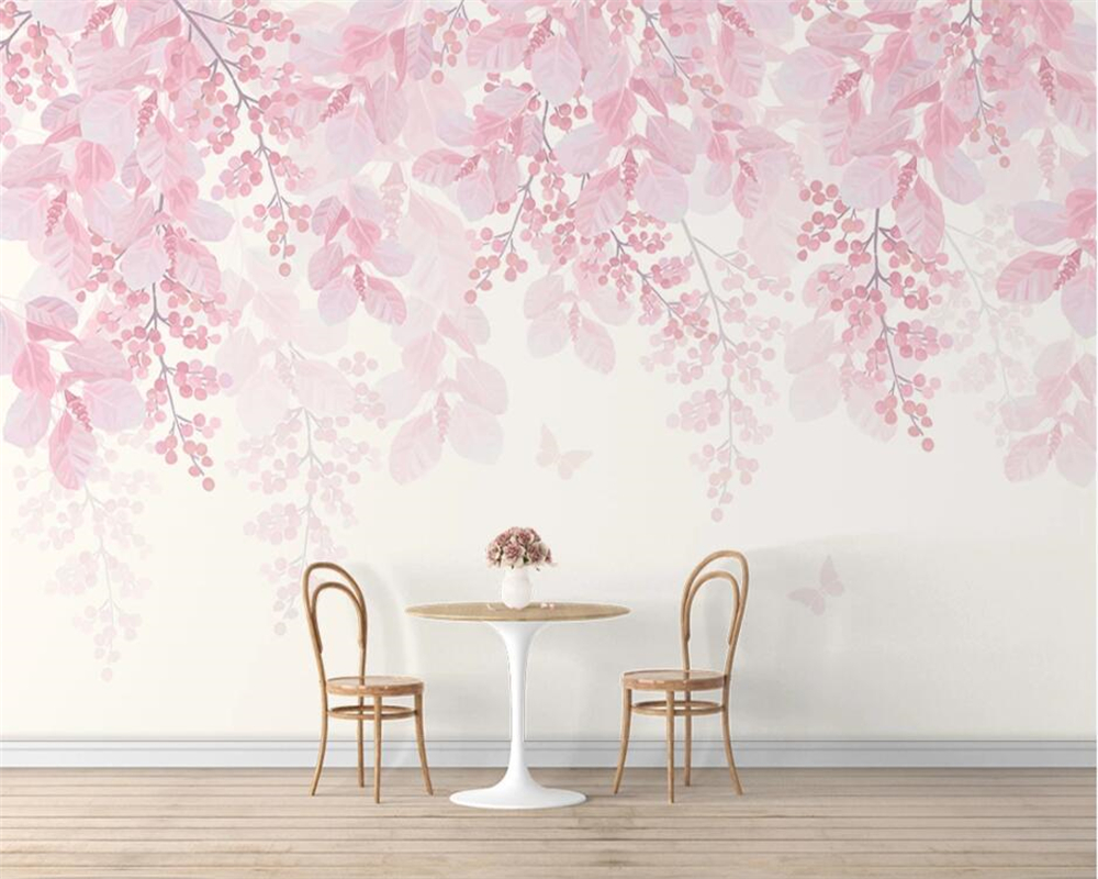 Beibehang Custom Wallpaper Hand Painted Cherry Tree Pink Flower Butterfly Wall Romantic Interior Background Wall 3d Wallpaper