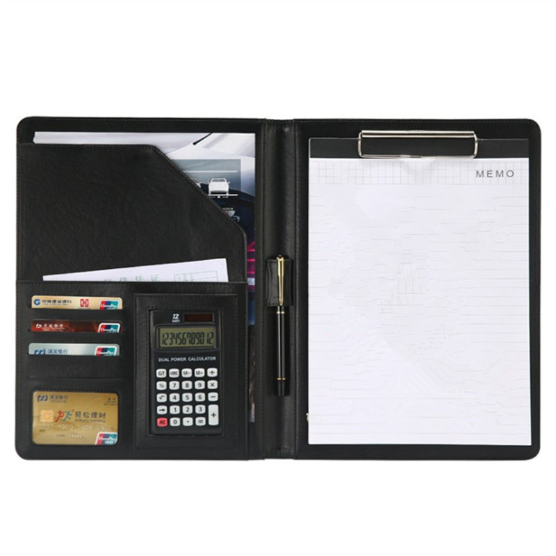 Pro A4 PU Leather File Folder With Calculator Case Office Supplies Organizer Manager Document Pads Briefcase Padfolio Bags