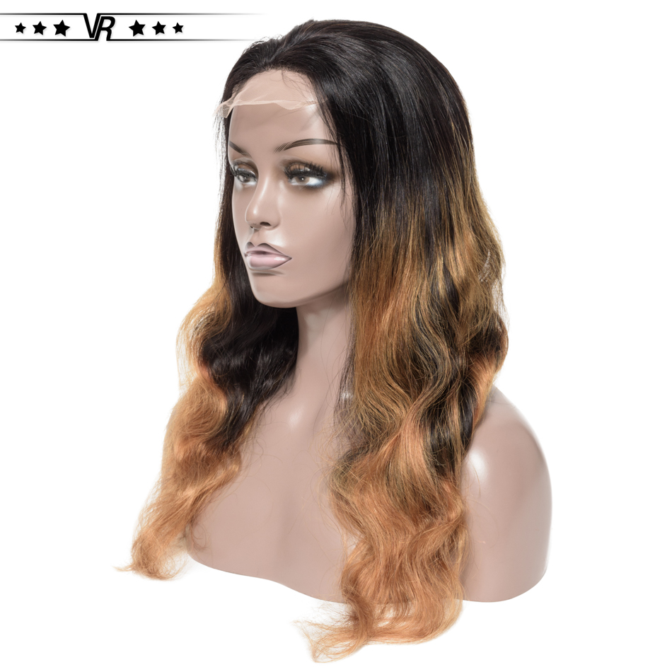 Ombre Human Hair Wigs 130%-200% Density 4x4 Body Wave Lace Wigs T1B/27 Color 100% Branzilian Human Hair