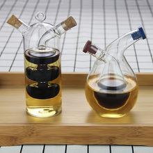 Garrafa de óleo de molho de dupla camada 2 em 1 vinagre garrafa de vidro condimento tempero selado garrafas de armazenamento de cozinha frascos
