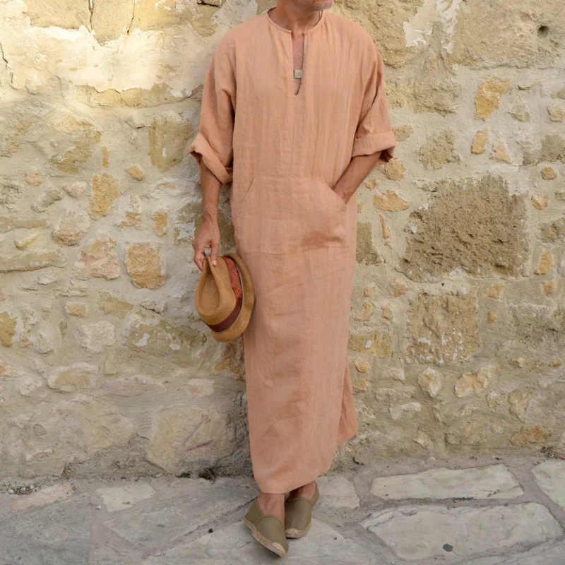 ผู้ชายผ้าลินินนุ่มมุสลิม Abaya ดูไบอิสลามเสื้อผ้า Kaftan Jubba Thobe Qamis Homme อิสลามเครื่องแต่งกายแบบดั้งเดิม