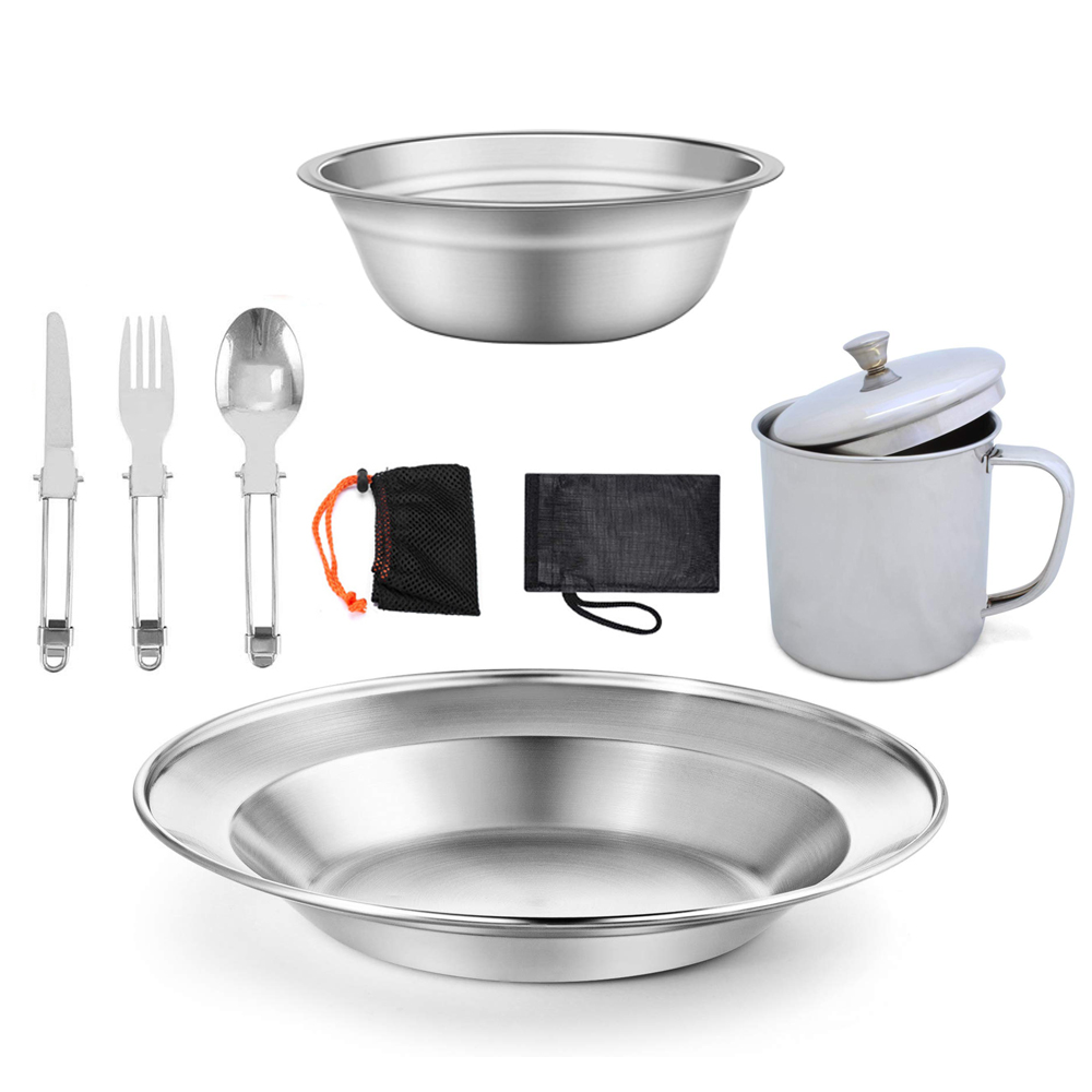 9PCS Stainless Steel Camping Tableware Outdoor Picnic Camping Dinner Plate Bowl Cup Spoon Fork Cutter Camping, Hiking Beach