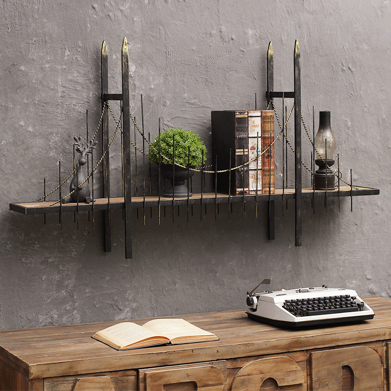 Creative London Bridge Retro Industrial Design Overpass Mural Storage Shelf Cafe Bar Room Display Rack Hanging Wall Decoration