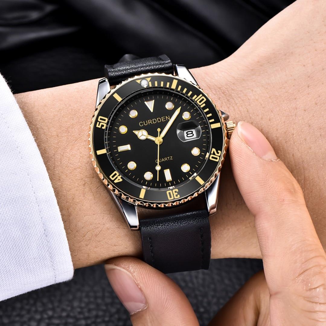 Men Fashion Leather Watch Calendar Rhinestone Dial Quartz Wristwatches Vintage PU Leather Luxury Bezel Male Casual Watch