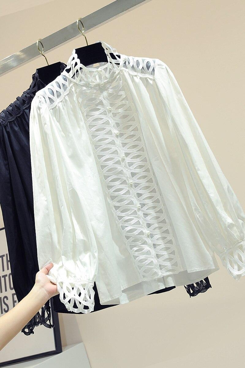 Dentelle couture blanc chemise femme 2019 automne nouveau coréen lâche à manches longues col montant manteau femme Blouse Blusas dame bureau haut - 5