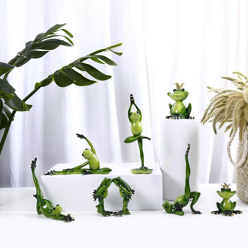 Vilead Lebih Banyak Ukuran Resin Yoga Katak Patung-patung Nordic Taman Kerajinan Dekorasi Teras Toko Hewan Ornamen untuk Rumah