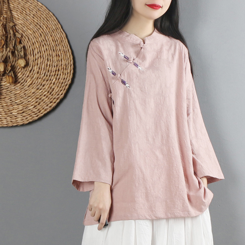 2020 Chinese Style Linen Women Solid Traditional Tops Women Loose Tangsuit Long Sleeve Blouse Tops Mandarin Collar Elegant Top