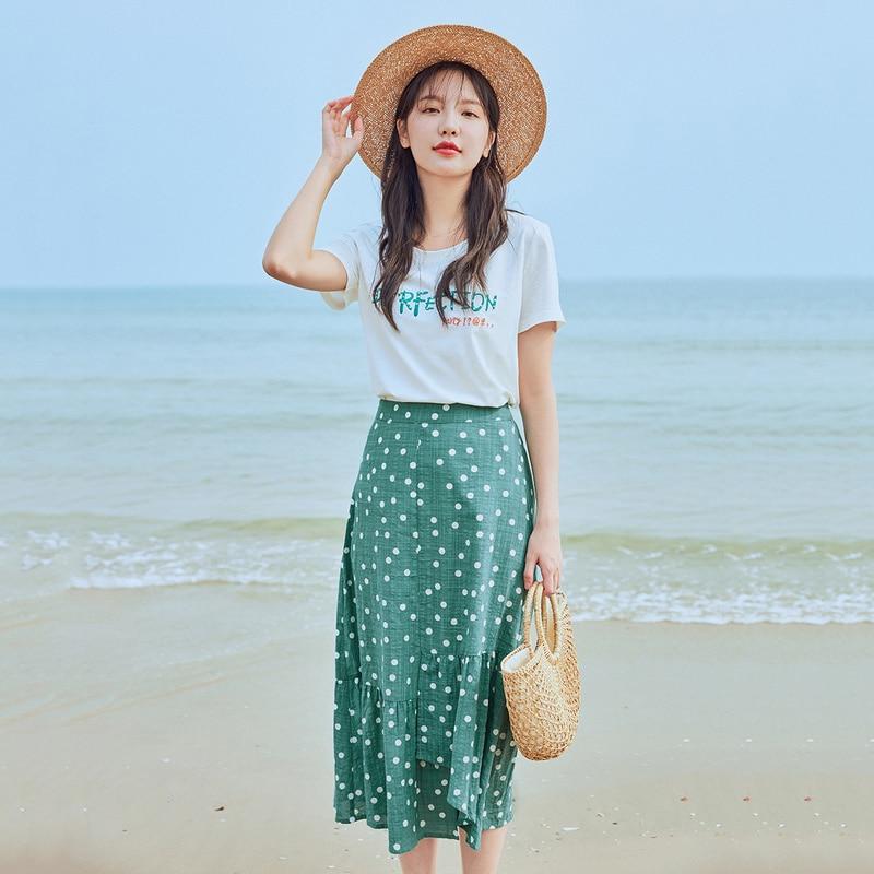INMAN 2020 Summer New Arrival Letter Embroidered Short Sleeve T-shirtTemperament Vintage Skirt