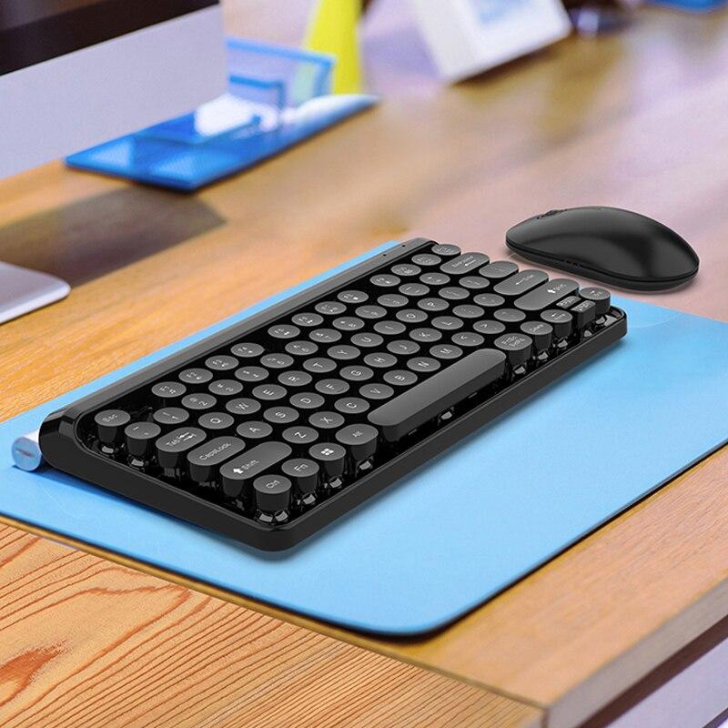 מוצרי חשמל לבית מקלדת ועכבר אלחוטי נטען פאנק רטרו 77 מקלדת הילוכי 10m keycap העגול נייד PC (1)
