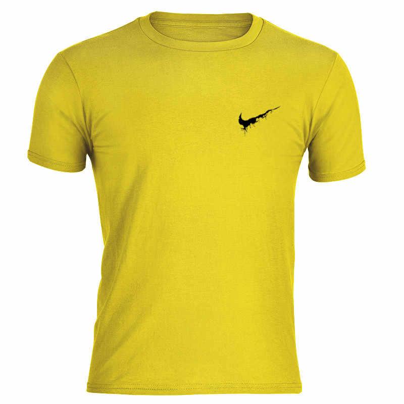 Желтая Повседневная футболка с круглым вырезом для мужчин Фитнес Лето короткий рукав модные мягкие мужские футболки дышащая рубашка бренд Логотип Джокер спортивная одежда