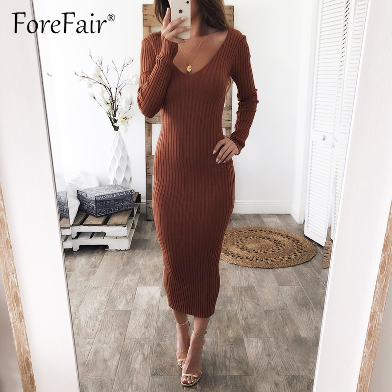 Forefair 2018 Autumn Winter Sweater Dress Women Long Sleeve V Neck Elastic Bodycon Knitted Black Long Dress