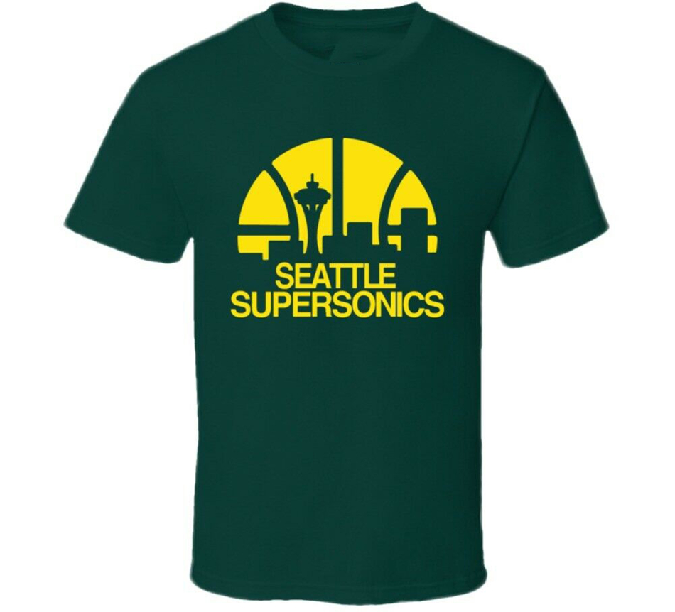 Seattle Supersonics Retro Basketball T Shirt Top Quality Tee Shirt image