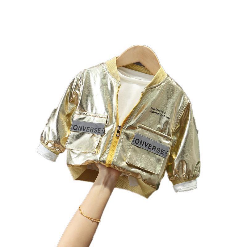 bebe menina casaco meninas jaquetas meninos casacos moda falso couro criancas carta jaqueta brilhante ouro prata
