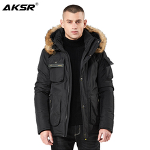 AKSR 2019 Winter Men Parka Jackets Windbreaker Parkas Military Thicken Hooded Jacket Coat with Fur Windproof