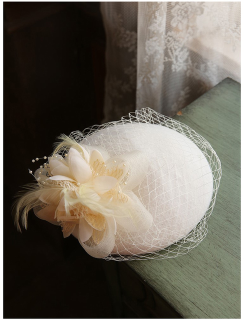 Fashion Women Wedding Hat Flower Black Bridal Party Gifts Veil Hair With Comb Pearl Beaded Bridal Hats and Fascinators