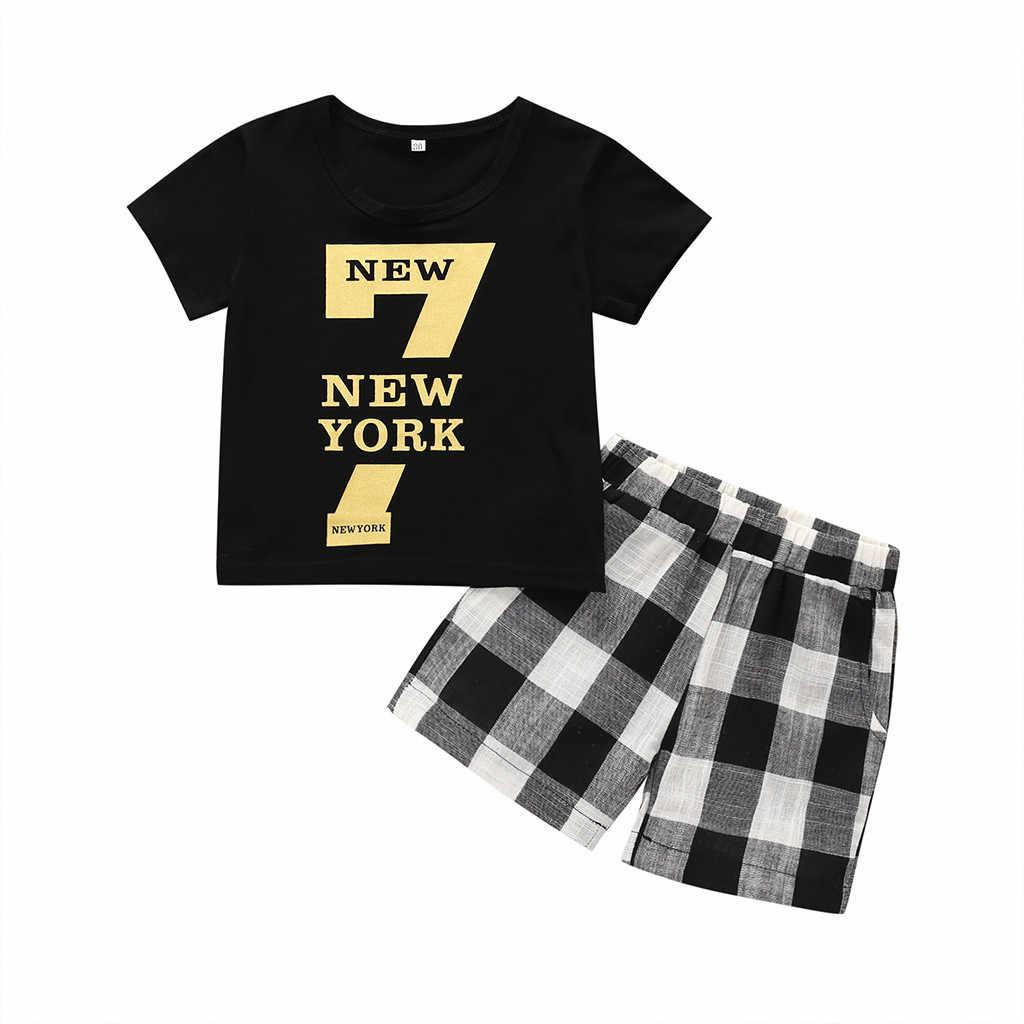בגדי בני פעוט קצר שרוול סט בגדי ילדים חליפת מכתב חולצה חולצות + מכנסיים משובצים ילדים תלבושת ילד בגדי CD
