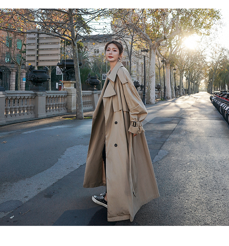 H81348ab5522241fba1690cadfc6960fe5 Korean Style Loose Oversized X-Long Women's Trench Coat Double-Breasted Belted Lady Cloak Windbreaker Spring Fall Outerwear Grey