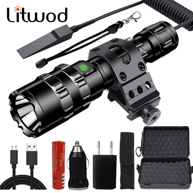 Tactical Light Scout Hunting Led Flashlight Torch Waterproof Shock Resistant,Self Defense,Hard Bulbs Rechargeable White / Green