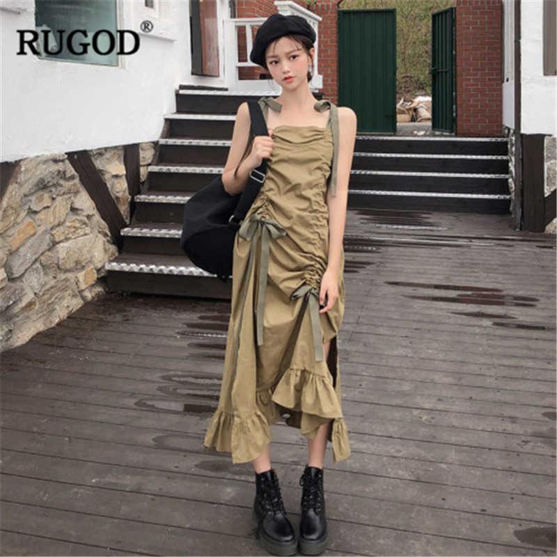 RUGOD 2020 ใหม่มาถึงผู้หญิงสีเขียวไม่สมมาตรชุดสปาเก็ตตี้สายรัดด้านข้างแยกVestidosหลวมสไตล์เกาหลีชุด