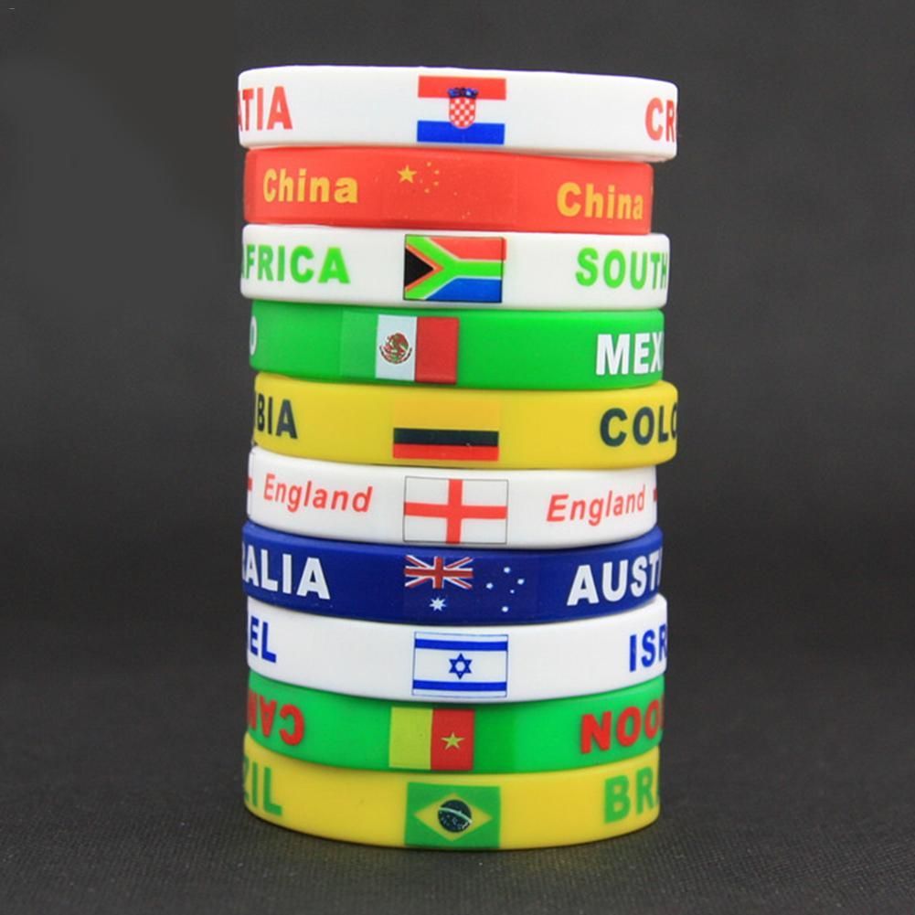 Country World Cup Flag Logo Sport Wristband Football Fans Silicone Elastic Wrist Band ID Bracelet Souvenir Gift