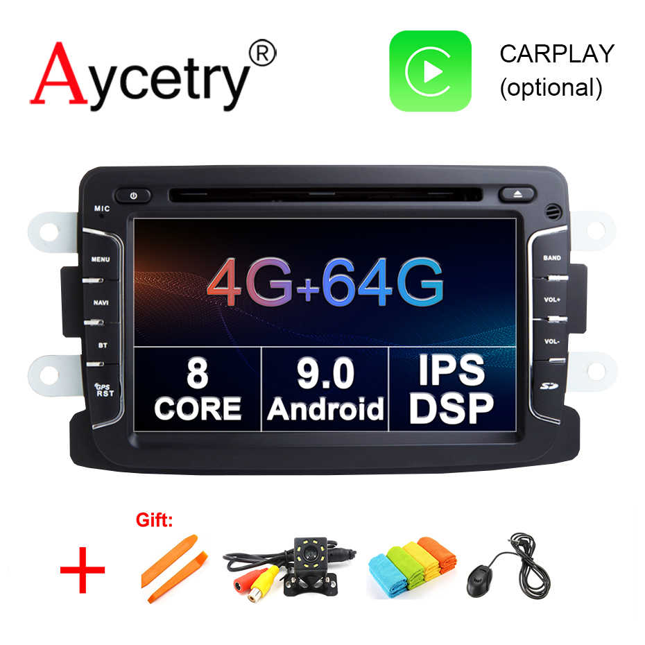 Autoradio dos gps do andróide 9.0 dos multimédios do carro de ips dsp 4g 64g para o espanador/captur/lada/xray 2/logan 2/dacia/sandero rádio do carro