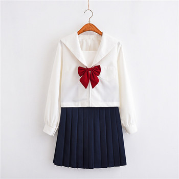 White Summer School Uniforms Sailor Suits Japanese For Girls Cute Long length Pleated Skirt Full Sets Cosplay JK Costume Series image