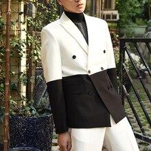 Suits Pants Costume Tuxedo Jacket Groom Boyfriend Black Male White Double-Breasted Fashion