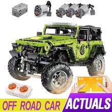 Nova escala 1: 8 fora da estrada veículo rubicon 2343 pçs modelo de carro verde blocos de construção tijolos brinquedos educativos presentes aniversário