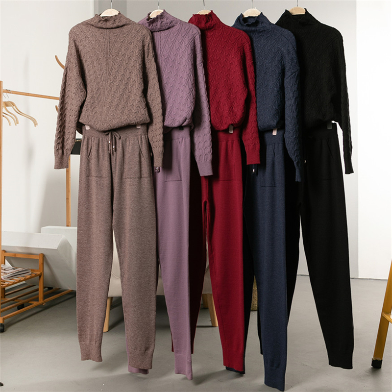 INITIALDREAM Women's Sweater Suit Autumn And Winter Knitted Tracksuit Turtleneck Jumper Pullovers+Pants Two Piece Set Outfits