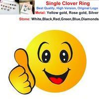 Luxury Leaf Flower Single Charm Yellow/Rose/White Gold Plated Ring Women White/Black/Red/Green/Gray/Blue Shell Elegant Ring Gift