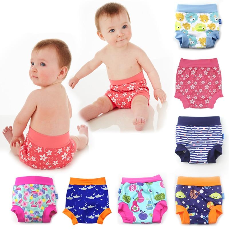 Детские герметичные тренировочные штаны трусы подгузники многоразовые тканевые Подгузники моющиеся плавки с высокой талией