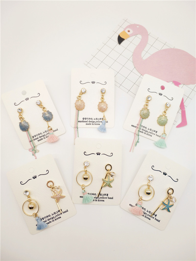 Korea Handmade Acrylic Shell Starfish Tassel Women Drop Earrings Dangle Earring Fashion Jewelry Accessories-JQD5