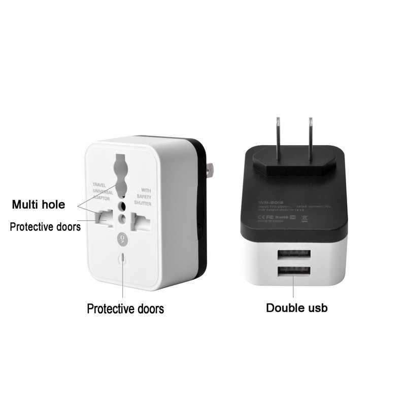 Универсальный дорожный адаптер с 2 USB-портами, преобразователь переменного тока для путешествий по всему миру, штепсельная вилка, адаптер для ЕС, Великобритании, США